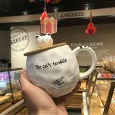 韓版可愛貓咪陶瓷馬克杯帶蓋勺個性網紅女早餐杯子創意情侶杯『芭蕾朵朵』