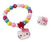 【卡漫城】 Hello Kitty 手鍊 & 戒指 彩珠 ㊣版 手鏈 手環 扮家家酒 兒童飾品 韓版 戒子 女孩 凱蒂貓