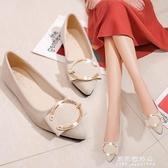豆豆鞋 2020春款平底低跟平跟韓版尖頭女單鞋皮帶扣淺口低筒鞋韓版豆豆鞋【果果新品】