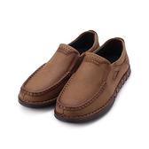 老船長 真皮縫線套式休閒鞋 墨綠 男鞋