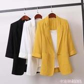 2020韓版棉麻中長款大碼西裝外套韓版寬鬆休閒時尚小西服女裝秋裝 極速出貨