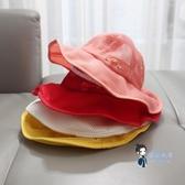 兒童帽 寶寶遮陽帽夏薄網眼大檐漁夫帽兒童1-3歲2男女兒童防曬盆帽子調節 5色