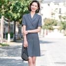 排釦腰帶上班短袖一件式洋裝連身裙[21S105-PF]美之札