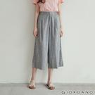 【GIORDANO】女裝後鬆緊棉麻寬褲 - 14 亞麻灰x皎白