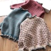 兒童毛衣 2020秋冬新款女童毛衣洋氣兒童套頭加絨加厚高領中大童針織打底衫【快速出貨】