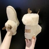 雪靴 女鞋2019冬季新款保暖可愛麋鹿角雪地靴皮毛一體加絨加厚棉鞋女