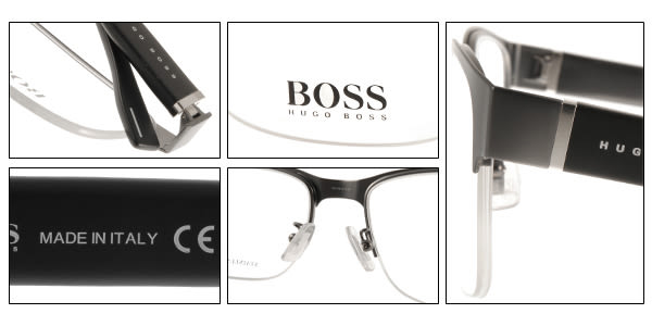 HUGO BOSS 光學眼鏡 HB0751F UJM (霧銀-黑) 休閒別緻經典半框款 # 金橘眼鏡
