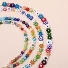 千花琉璃彩色不規則撞色小花朵玻璃琉璃串珠DIY手工飾品配件材料【免運】