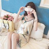 睡衣女夏季韓版清新學生短袖冰絲吊帶睡裙夏天性感真絲家居服絲綢 【PINK Q】