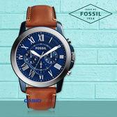 FOSSIL 手錶專賣店 國隆 FS5151 時尚三眼男錶 皮革錶帶 藍色錶面 防水50米 計時功能