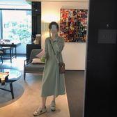 韓版寬鬆休閒連身裙女秋裝新款學院風長袖連帽衛衣裙 亞斯藍