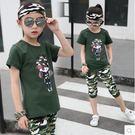 女童裝夏季新款迷彩服套裝女孩運動休閒兩件套Lpm627【kikikoko】