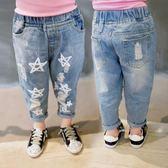 童裝女童牛仔褲寶寶破洞褲子