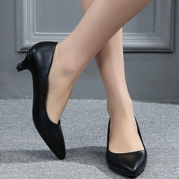 大尺碼女鞋小尺碼女鞋尖頭素面舒適低跟鞋中跟鞋櫃姐OL上班鞋細跟黑色(32-43)現貨#七日旅行