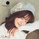 帽子 珍珠水鑽星球蝴蝶結花朵毛呢貝蕾帽-Ruby s 露比午茶