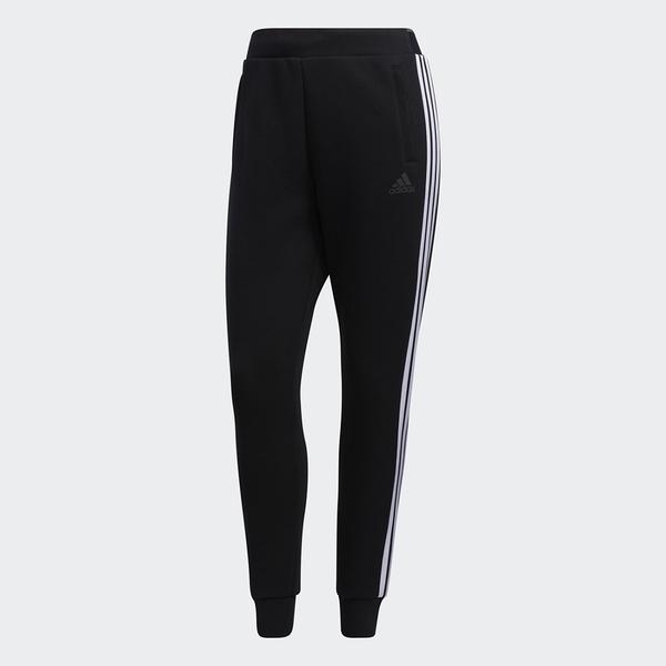 Adidas MUST HAVES DK 女裝 長褲 慢跑 休閒 三條線 拉鍊口袋 棉質 黑【運動世界】GM1445