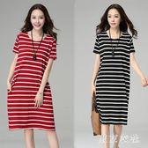 大尺碼短袖洋裝 胖MM韓版加大寬鬆中長裙條紋顯瘦連身裙 EY4506 『東京衣社』