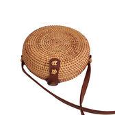 編織包 巴厘島ins手工藤編織包圓形手提包 復古草編包森繫沙灘包女包 瑪麗蘇