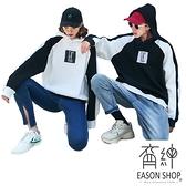 EASON SHOP(GW3864)實拍撞色拼接字母印花刷毛加絨加厚長袖連帽T恤女上衣服連肩袖內搭衫棉T情侶裝