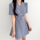 洋裝 韓系春夏復古西裝領小個子繫帶收腰連身裙 花漾小姐【預購】