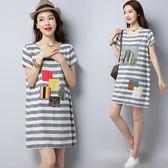 文藝洋裝 夏季新款棉麻短袖連衣裙寬鬆大碼圓領貼布印花條紋亞麻中長裙