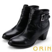 ORIN 簡約時尚 素面典雅釦環粗跟短靴-黑色