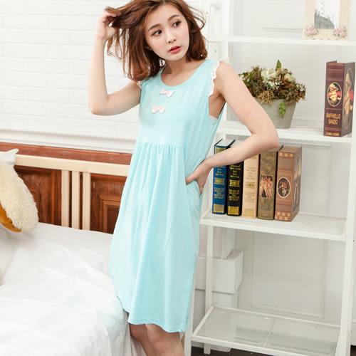 睡衣透氣蕾絲無袖圓領棉質連身睡衣 -藍-波曼妮亞 5002300