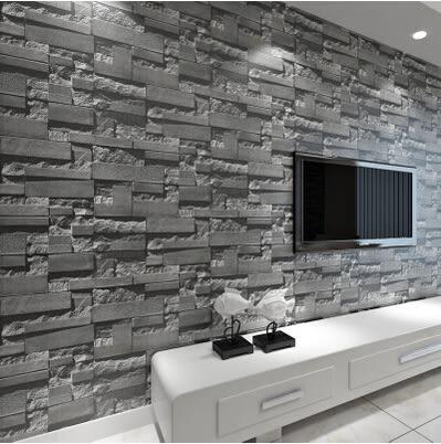 凹凸立體中式仿磚磚紋牆紙純白色服裝店壁紙客廳電視牆背景磚塊