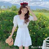 短袖洋裝 2021新款仙女風法式超仙初戀小白裙子方領高腰白色連身裙女潮 618購物節