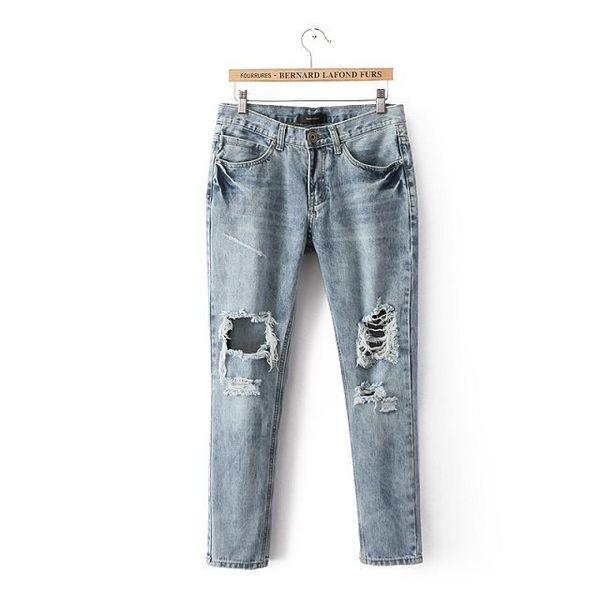 SINGLE單眼皮女孩 韓KOREA 流行休閒破損破洞風格前後雙口袋單釦拉鍊牛仔長褲