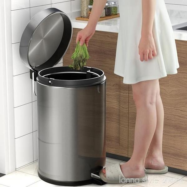不銹鋼垃圾桶家用帶蓋廚房腳踩大號防臭客廳高檔廁所衛生間圾圾桶 新品全館85折 YTL