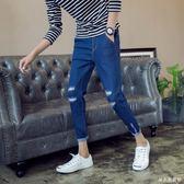 深藍色 高腰破洞九分牛仔褲男裝修身小腳彈力青少年韓版潮流新款 DR28258【男人與流行】