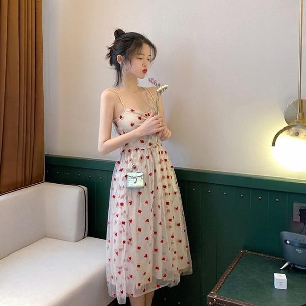 洋装-法式森系甜美過膝復古桔梗超仙女初戀egg吊帶洋氣很仙洋裝子夏
