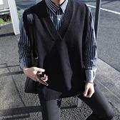 春秋季寬鬆無袖薄款毛衣日系情侶男士坎袖V領針織馬甲線衣背心潮 草莓妞妞