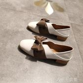 夏秋方頭單鞋女淺口低跟甜美蝴蝶結半拖鞋粗跟復古奶奶鞋3cm千千女鞋