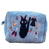 〔小禮堂〕宮崎駿 魔女宅急便 黑貓KIKI 方形絨布刺繡化妝包《藍》收納包.筆袋 4992272-69200