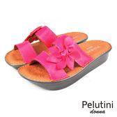 【Pelutini】donna花朵彈力厚底涼拖鞋 粉紅色(5925W-PIN)