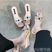 厚底半拖鞋女夏時尚外穿新款潮韓版懶人坡跟高跟透明涼拖790-27 簡而美