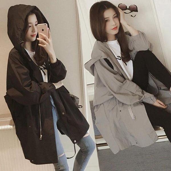 風衣 2019秋裝新款韓版大碼寬鬆風衣女中長款百搭學生外套bf連帽外套女
