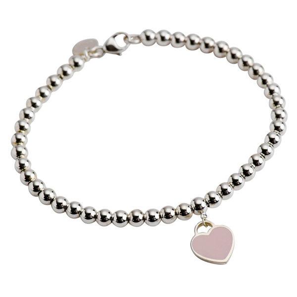 Tiffany & Co.迷你心型粉色琺瑯串珠手鍊