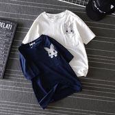 DE SHOP~(GU-6513)卡通超萌口袋刺繡兔子純棉圓領短袖T恤內搭衫女上衣服素色白棉T春夏裝韓版寬鬆