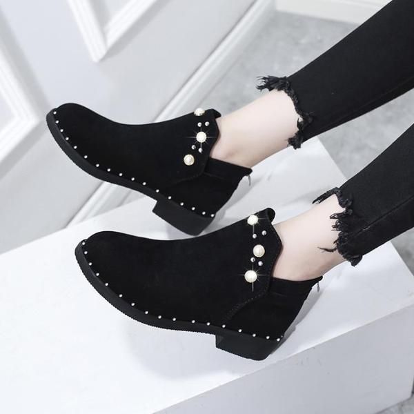 顯瘦馬丁靴女英倫風網紅靴子女2021新款百搭薄款粗跟短靴春秋單靴 3C數位百貨