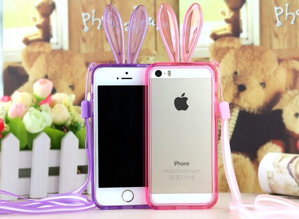 ☆蘋果iPhone6 plus 5.5吋手機邊框 SJ0002水晶兔子軟邊框帶掛繩 iPhone 6 plus 可愛兔耳朵邊框 矽膠套