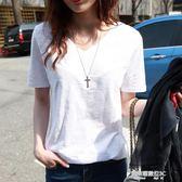 夏季新款韓版寬鬆白色短袖t恤女竹節棉麻百搭簡約學生半袖上衣潮 凱斯盾數位3C