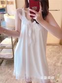 一件8折免運 居家服 睡衣女夏季棉質睡裙薄款吊帶裙甜美性感蕾絲公主家居服帶胸墊冰絲
