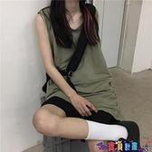 無袖背心 無袖背心女夏裝2021年新款韓版街頭純色破洞中長款上衣學生潮 寶貝計畫