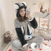 睡衣-珊瑚絨睡衣女秋冬季韓版兔子甜美可愛公主風家居服法蘭絨加厚保暖-奇幻樂園