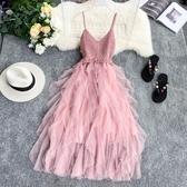 吊帶洋裝法國小眾連身裙針織V領露背拼接不規則層層網紗蛋糕裙網紅吊帶裙 JUST M