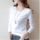 長袖T恤圓領上衣打底內搭S-3XL/牛奶絲秋冬白色長袖t恤打底衫修身純色3F132 9889號公館