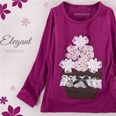 漂亮寶貝葡萄紫~粉嫩雪紡花朵上衣(260383)★水娃娃時尚童裝★